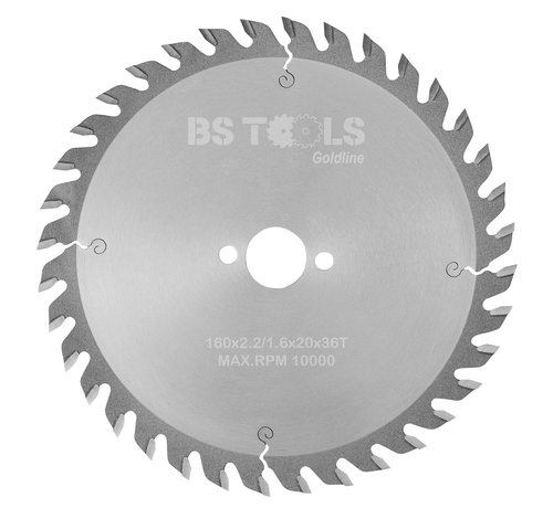 BS tools GoldLine Circular sawblade GoldLine 160 x 2,2 x 20 mm.  T=36 alternate top bevel teeth