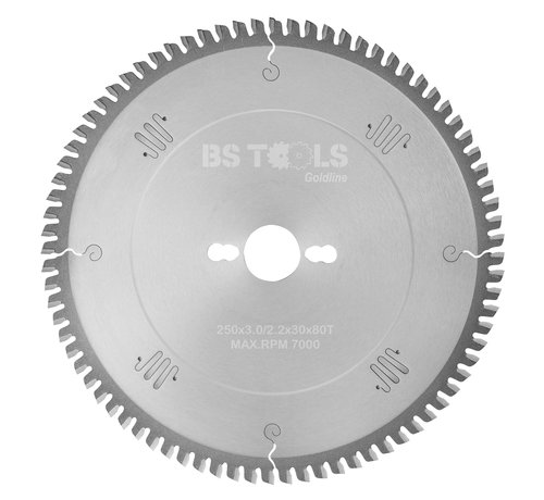 BS tools GoldLine Circular Sawblade GoldLine 250 x 3,0 x 30 mm. T=80 for laminate and Trespa