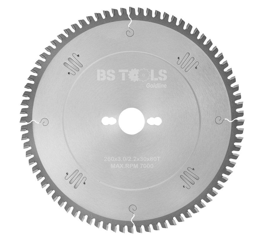HM cirkelzaag GoldLine 260 x 3,0 x 30 mm.  T=80 voor laminaat en Trespa