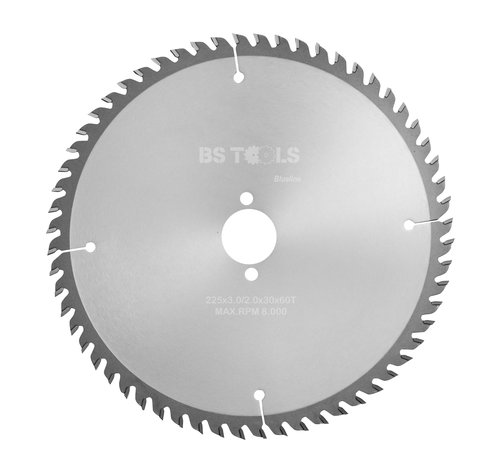 BS tools BlueLine Circular sawblade BlueLine 225 x 3,0 x 30 mm.  T=60 for laminate and Trespa