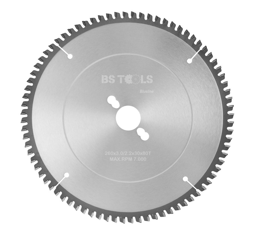 Circular sawblade BlueLine 260 x 3,0 x 30 mm.  T=80 for aluminum