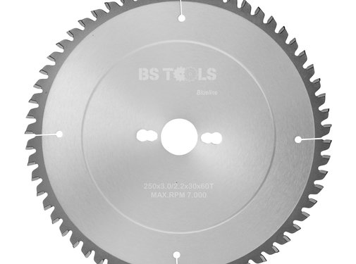 BS tools BlueLine HM zaag BlueLine 250 x 3,0 x 30 mm.  T=60 ALUMINIUM