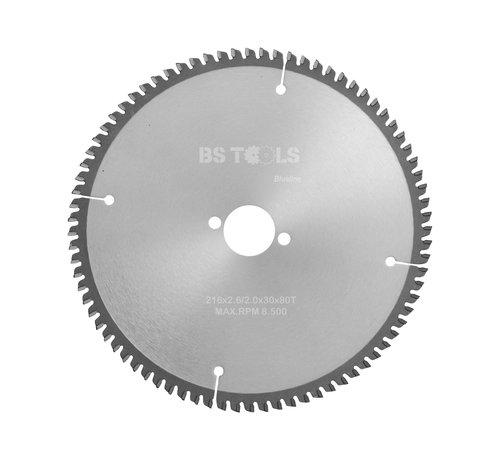 BS tools BlueLine Circular sawblade BlueLine 216 x 2,6 x 30 mm.  T=80 for aluminum