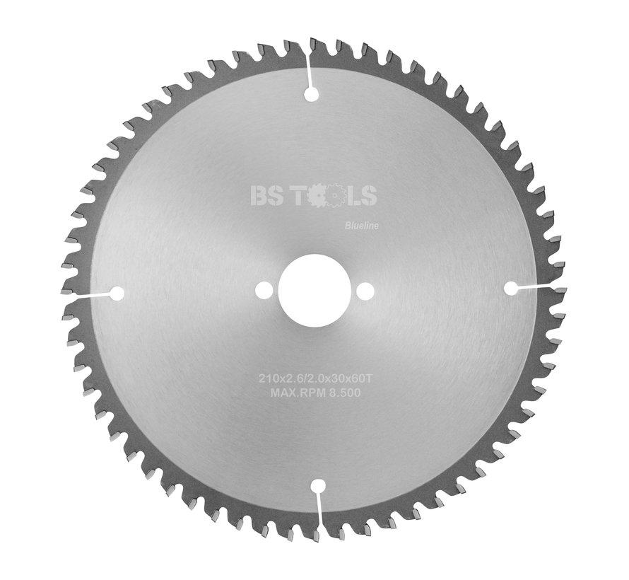 Circular sawblade BlueLine 210 x 2,6 x 30 mm.  T=60 for aluminum
