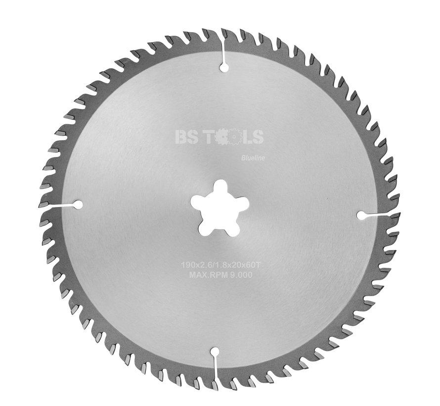 HM cirkelzaag BlueLine 190 x 2,6 x FF mm.  T=60 voor laminaat en Trespa