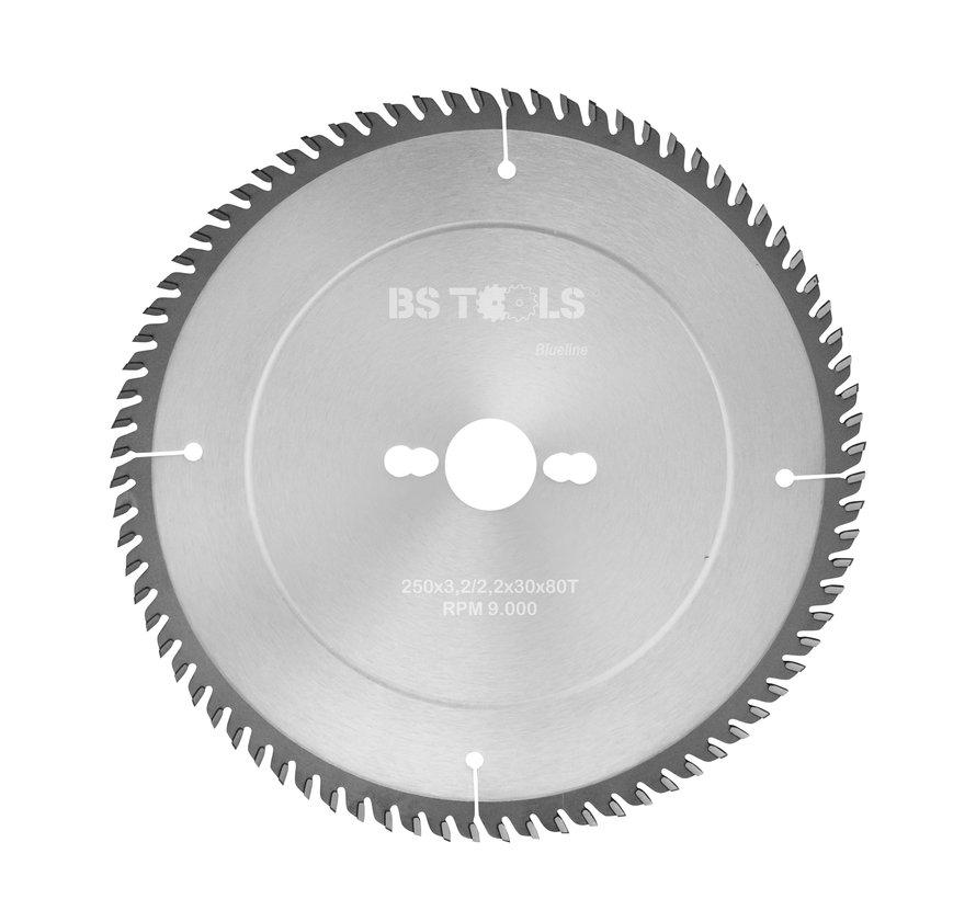 HM crikelzaag BlueLine 250 x 3,2 x 30 mm.  T=80 voor laminaat en Trespa