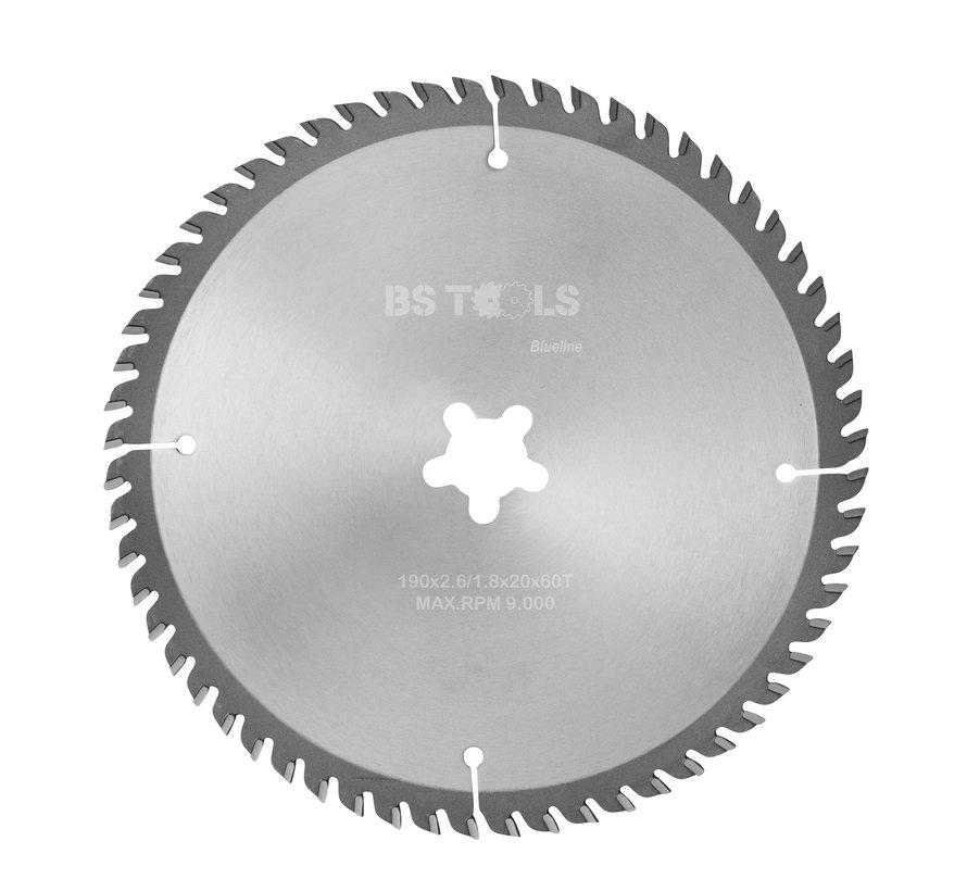 Circular sawblade BlueLine 190 x 2,6 x FF mm.  T=60 alternate top bevel teeth