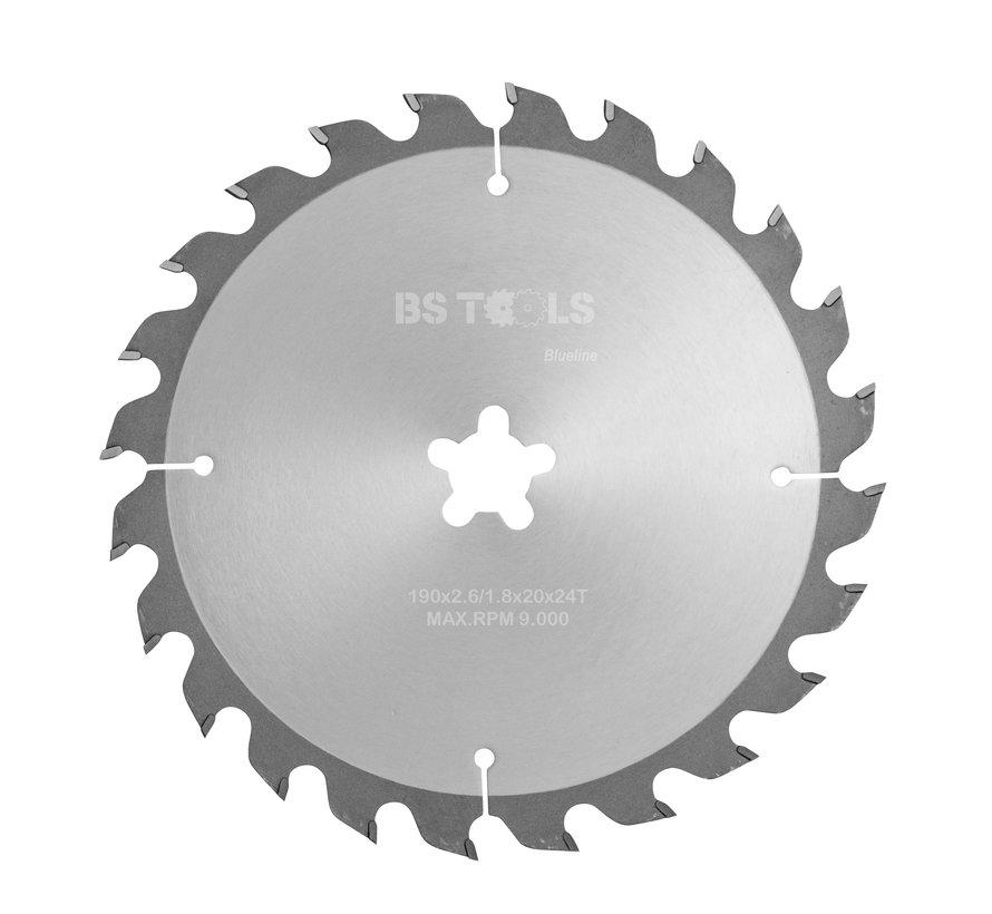 Circular sawblade BlueLine 190 x 2,6 x FF mm.  T=24 alternate top bevel teeth