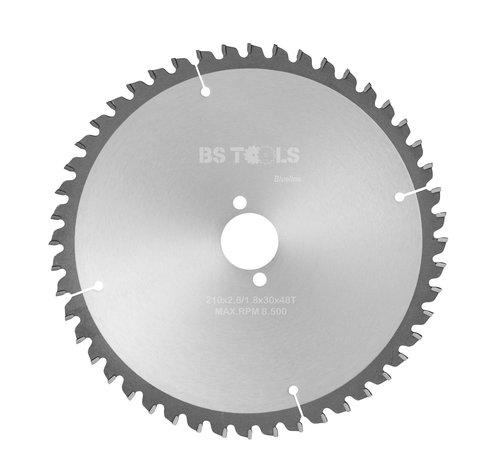 BS tools BlueLine Circular sawblade BlueLine 210 x 2,6 x 30 mm.  T=48 alternate top bevel teeth negative