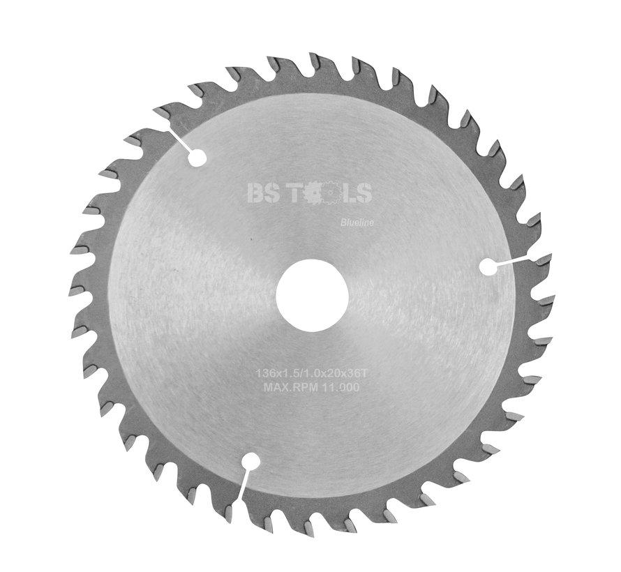 Circular sawblade BlueLine 136 x 1,5 x 20 mm.  T=36 alternate top bevel teeth