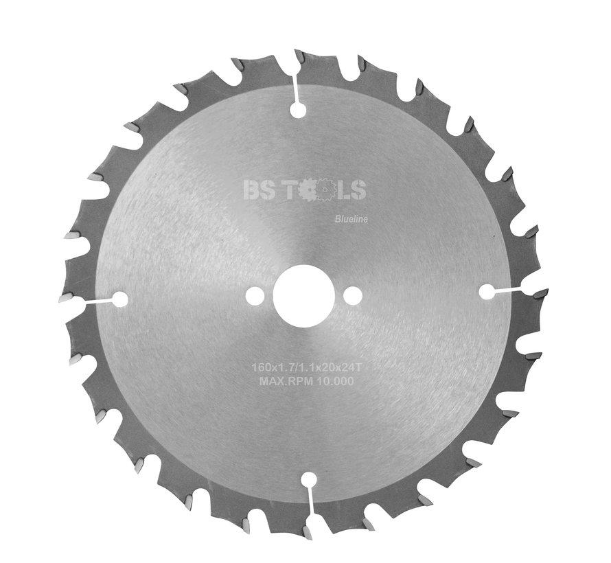 HM cirkelzaag BlueLine 160 x 1,7 x 20 mm.  T=24 wisseltand