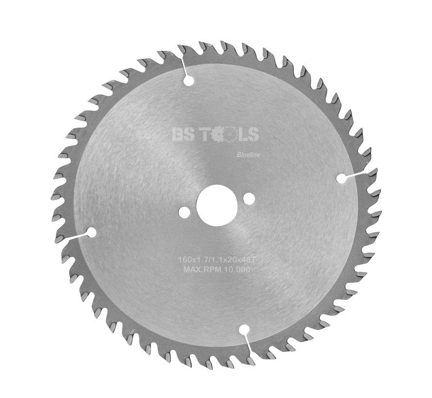 HM cirkelzaag BlueLine 160 x 1,7 x 20 mm.  T=48 wisseltand