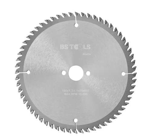 BS tools BlueLine Circular sawblade BlueLine 160 x 1,7 x 20 mm.  T=60 alternate top bevel teeth
