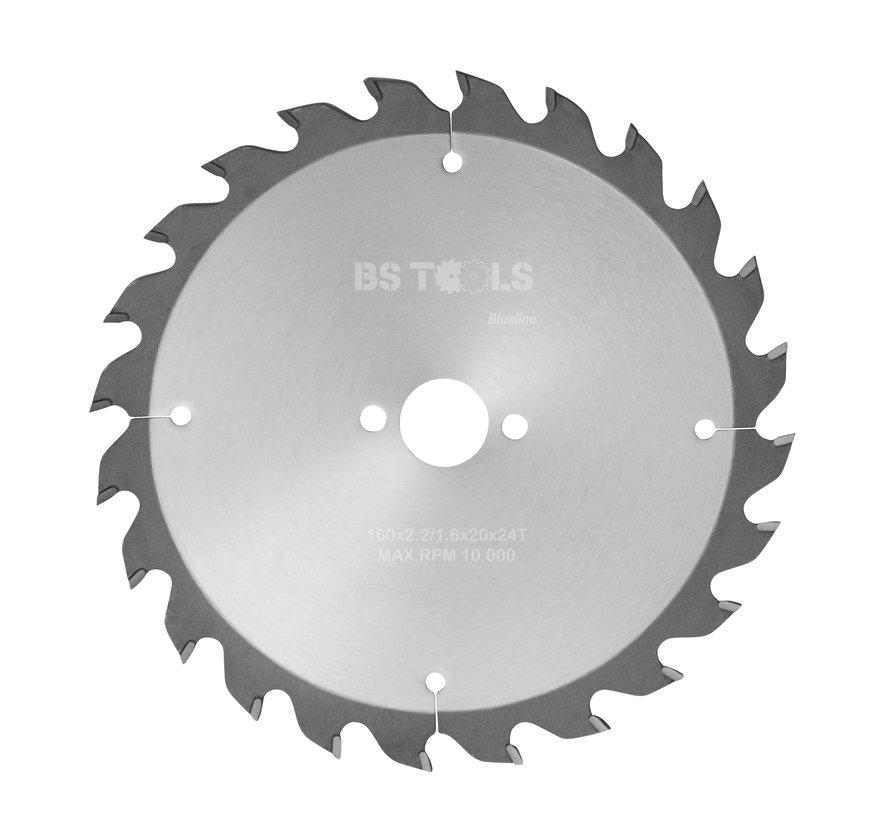 HM cirkelzaag BlueLine 160 x 2,2 x 20 mm.  T=24 wisseltand