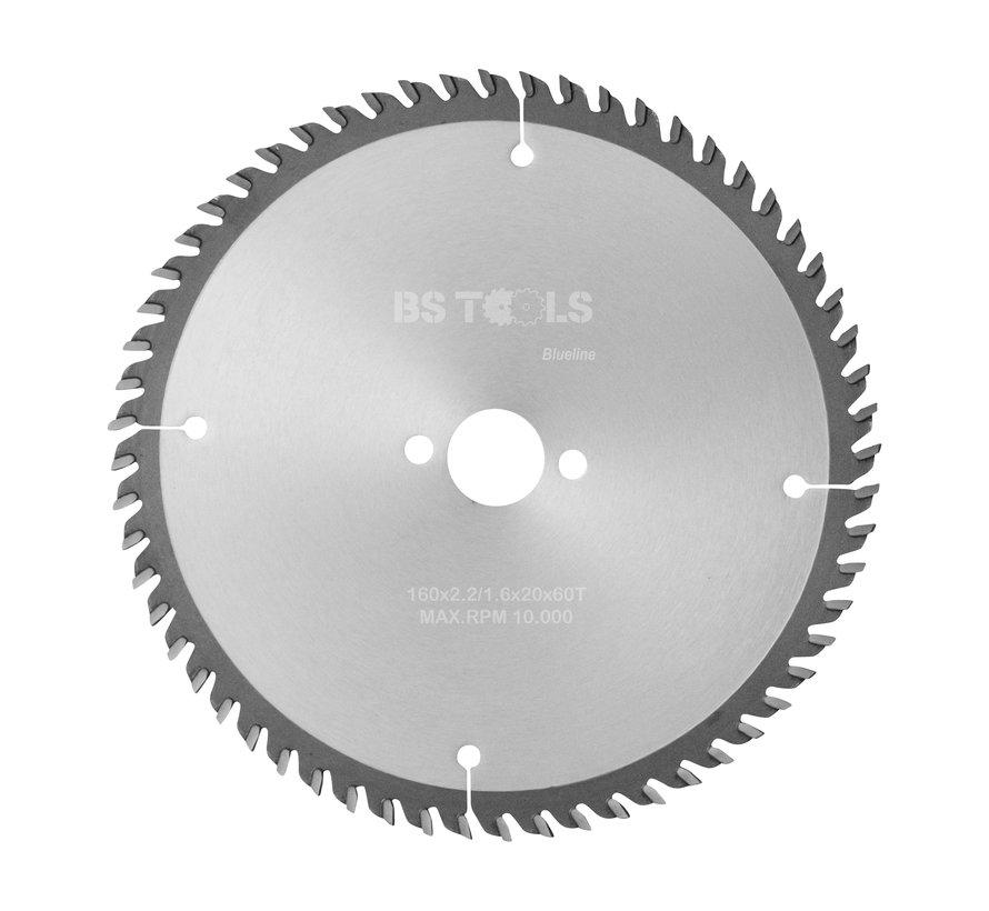 HM cirkelzaag BlueLine 160 x 2,2 x 20 mm.  T=60 wisseltand