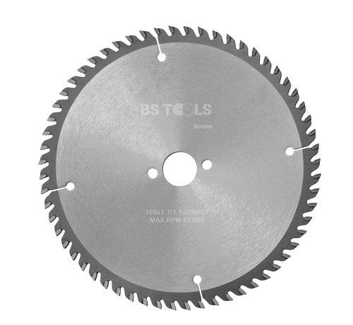 BS tools BlueLine Circular sawblade BlueLine 165 x 1,7 x 20 mm.  T=60 alternate top bevel teeth