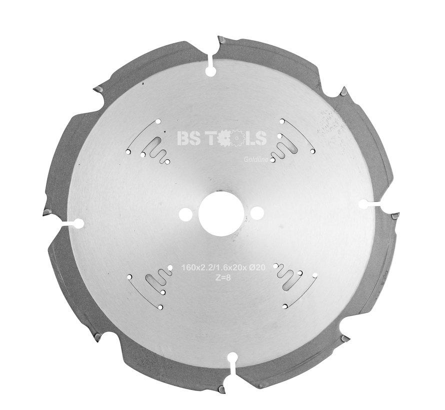 Diamant cirkelzaag 160 x 2,2 x 20 mm.  T=8 voor cementvezelplaten
