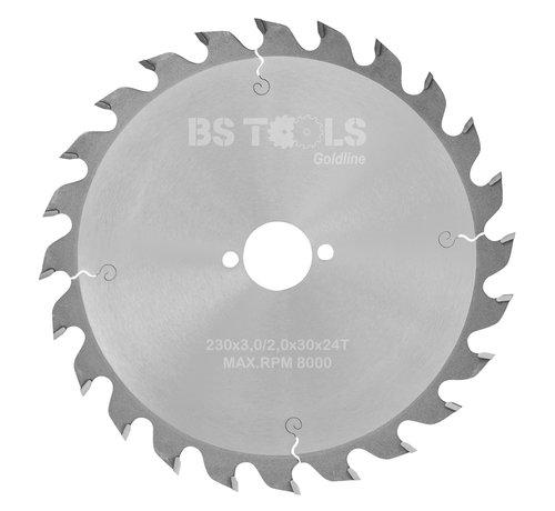 BS tools GoldLine Circular sawblade GoldLine 230 x 3,0 x 30 mm.  T=24 alternate top bevel teeth