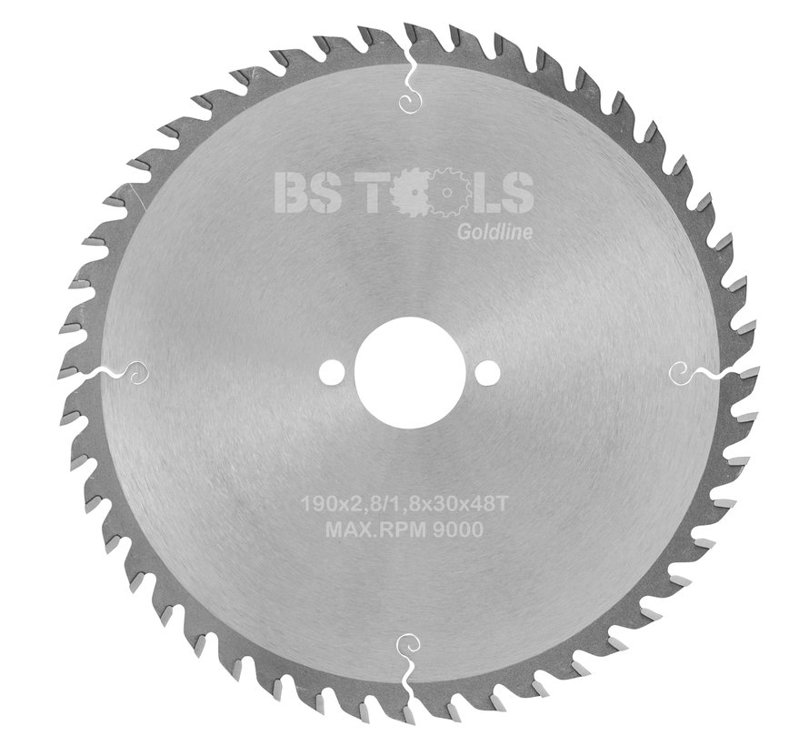 Circular sawblade GoldLine 190 x 2,8 x 30 mm.  T=48 alternate top bevel teeth