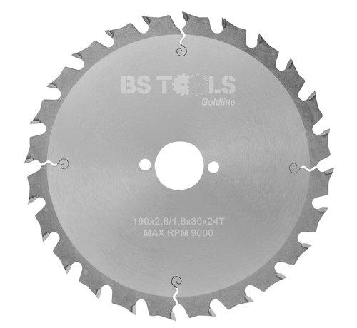 BS tools GoldLine Circular sawblade GoldLine 190 x 2,8 x 30 mm.  T=24 alternate top bevel teeth