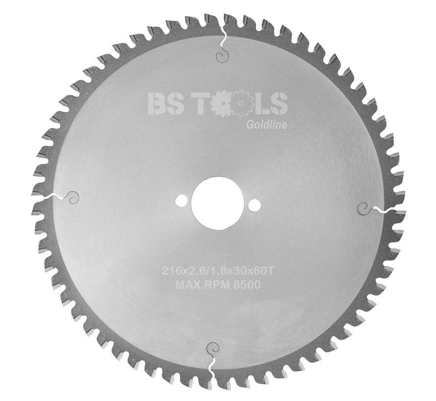 HM cirkelzaag GoldLine 216 x 2,6 x 30 mm.  T=80 voor aluminium