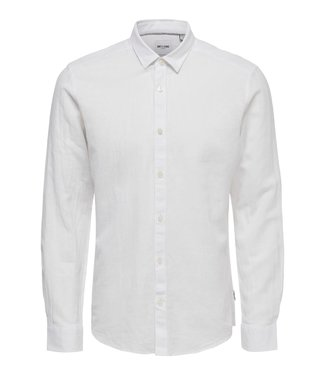 Only & Sons ONSCAIDEN LS SOLID LINEN SHIRT WHITE
