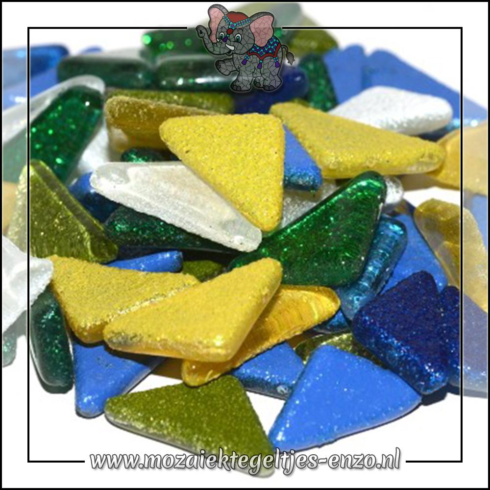 Soft Glas Puzzelstukjes Glitter | Gemixte Kleuren | 50 gram |Rainbow Ice