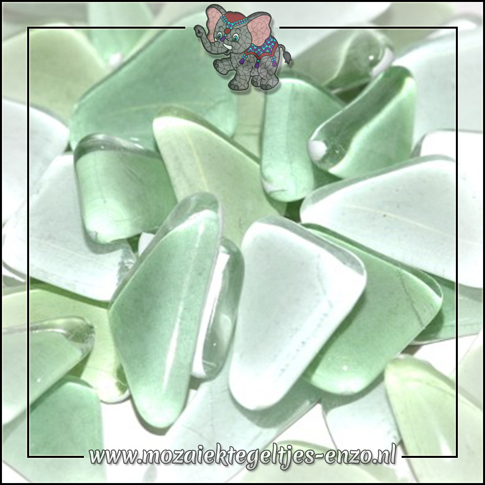 Soft Glas Puzzelstukjes Normaal   Gemixte Kleuren   50 gram  Baby Leaf Green