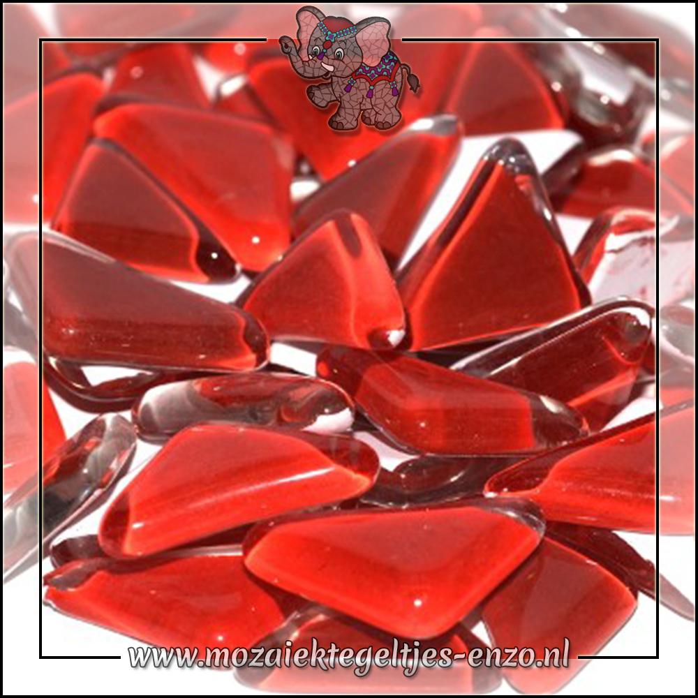 Soft Glas Puzzelstukjes Normaal   Gemixte Kleuren   50 gram  Poppy Red