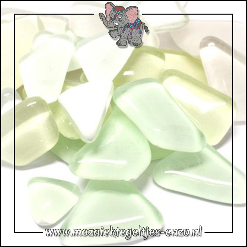 Soft Glas Puzzelstukjes Normaal | Gemixte Kleuren | 50 gram |White Baby's Breath
