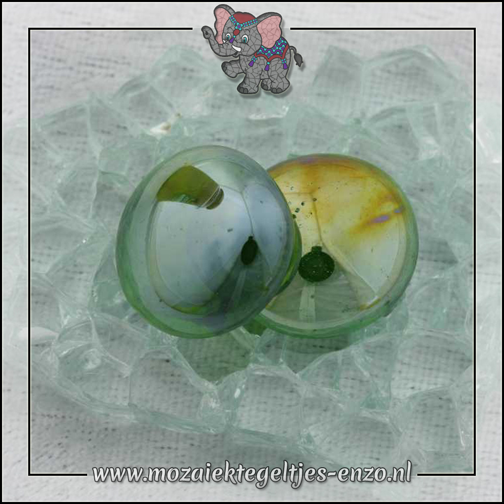 Glas Nuggets Transparant   16-20mm   Enkele Kleuren   10 stuks  Dark Green Transparent Opalescent
