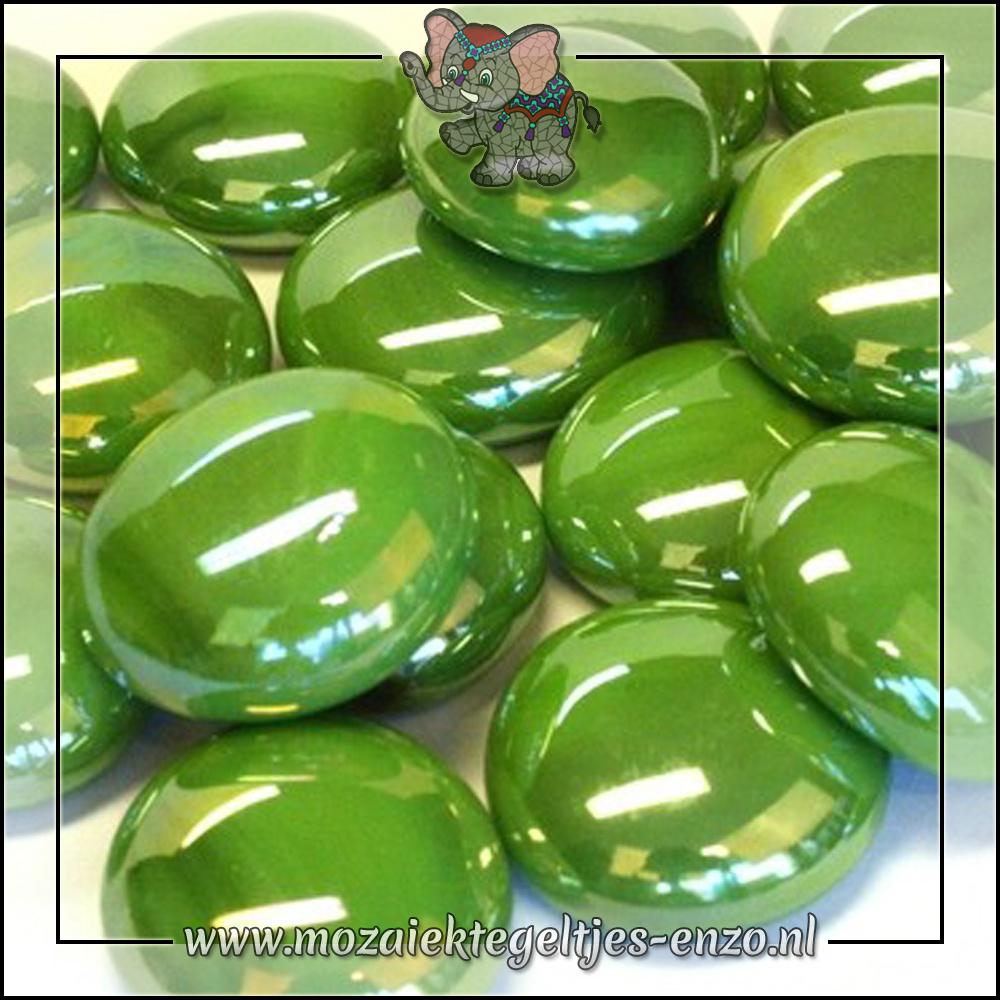 Glas Nuggets Parelmoer | 16-20mm | Enkele Kleuren | 10 stuks |Green Opalescent