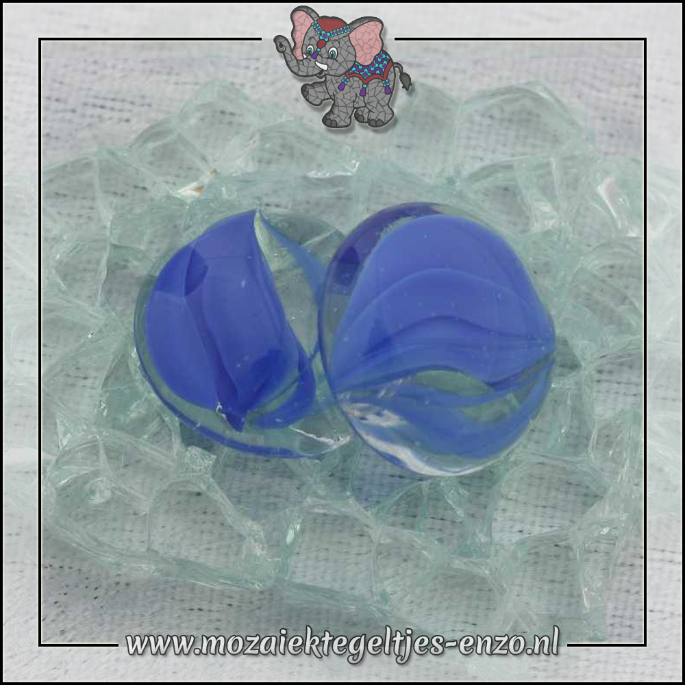 Glas Nuggets Transparant | 16-20mm | Enkele Kleuren | 10 stuks |Eye Cat Blue