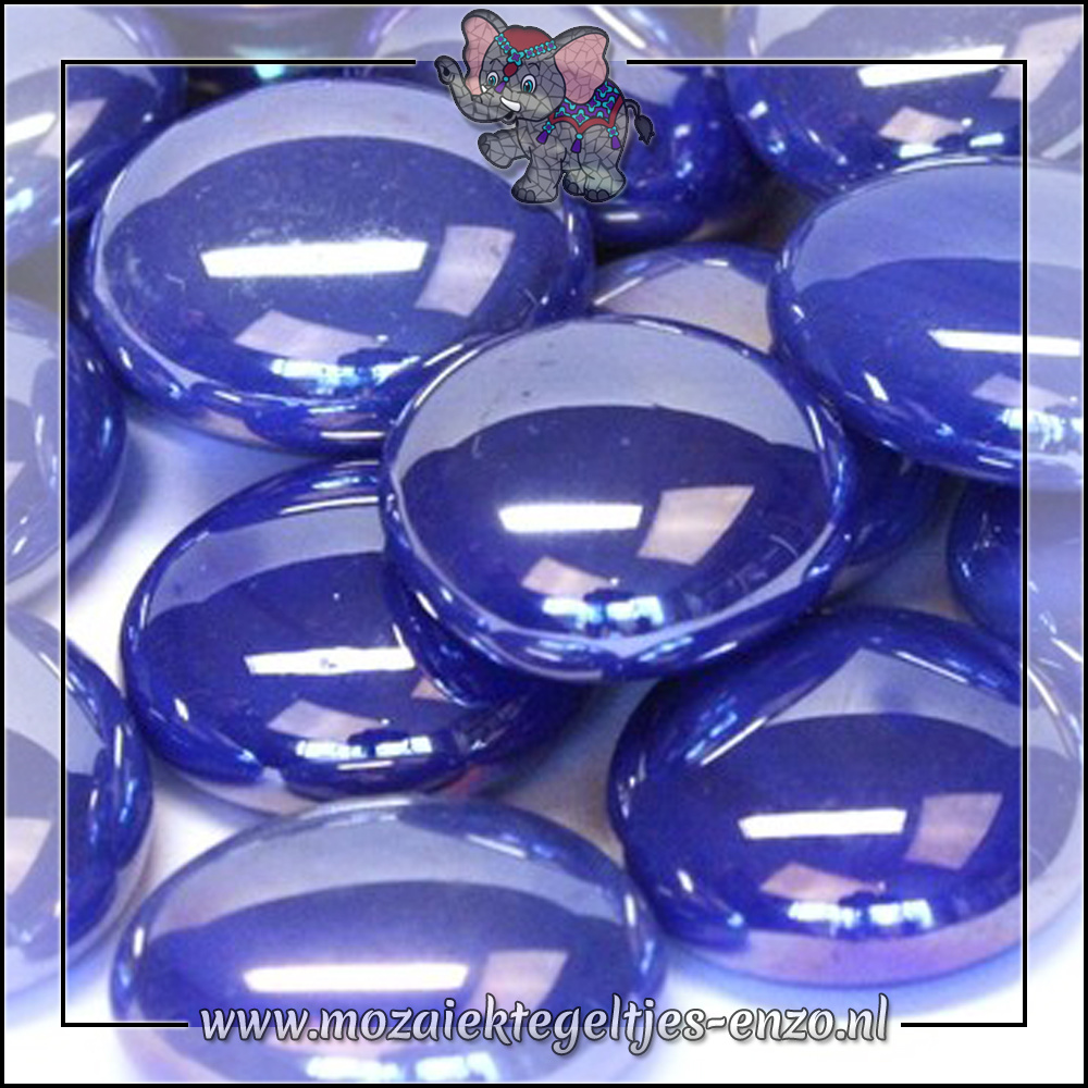 Glas Nuggets Parelmoer   16-20mm   Enkele Kleuren   10 stuks  Electric Blue Opalescent