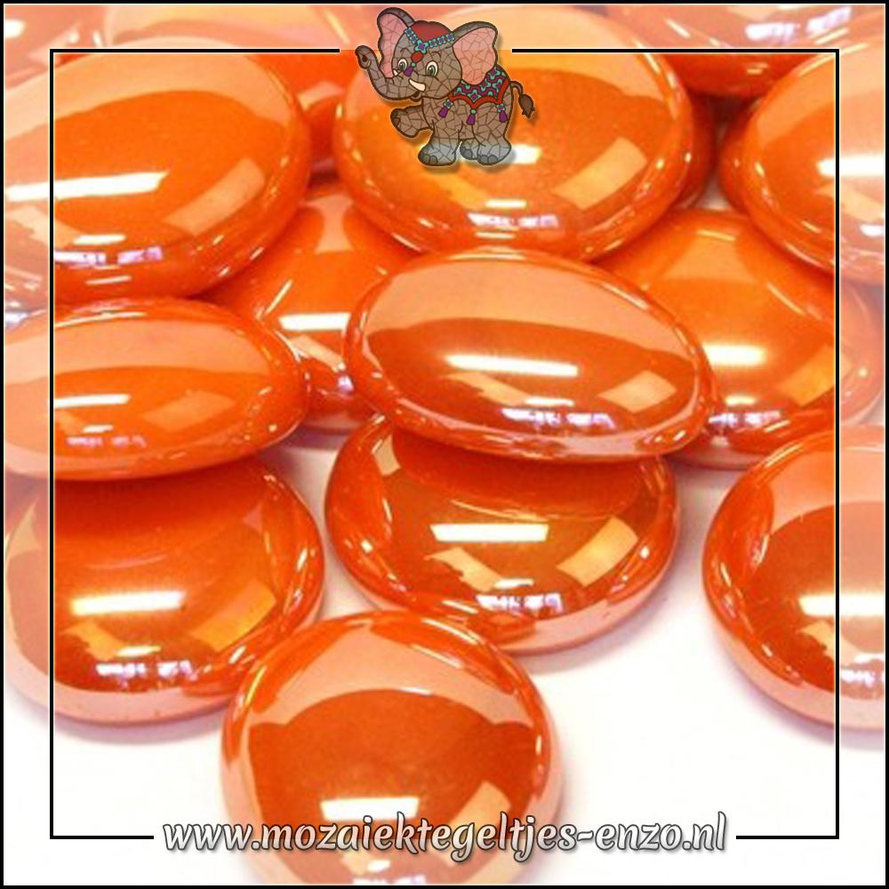 Glas Nuggets Parelmoer | 16-20mm | Enkele Kleuren | 10 stuks |Orange Opalescent