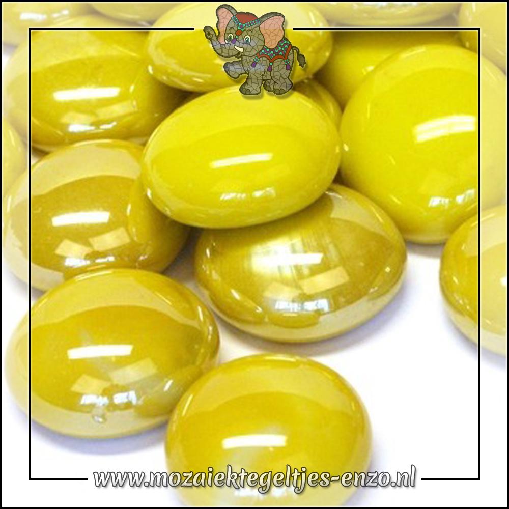 Glas Nuggets Parelmoer | 16-20mm | Enkele Kleuren | 10 stuks |Yellow Opalescent