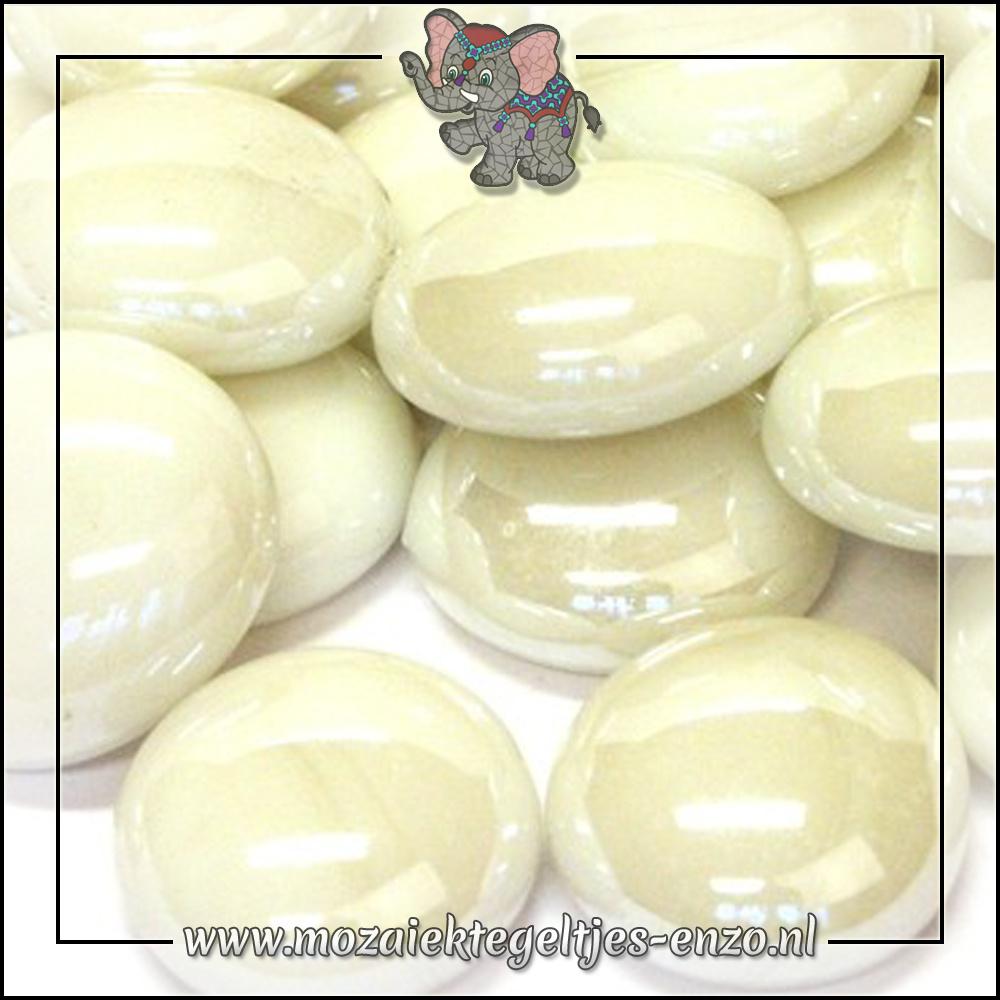 Glas Nuggets Parelmoer | 16-20mm | Enkele Kleuren | 10 stuks |White Opalescent