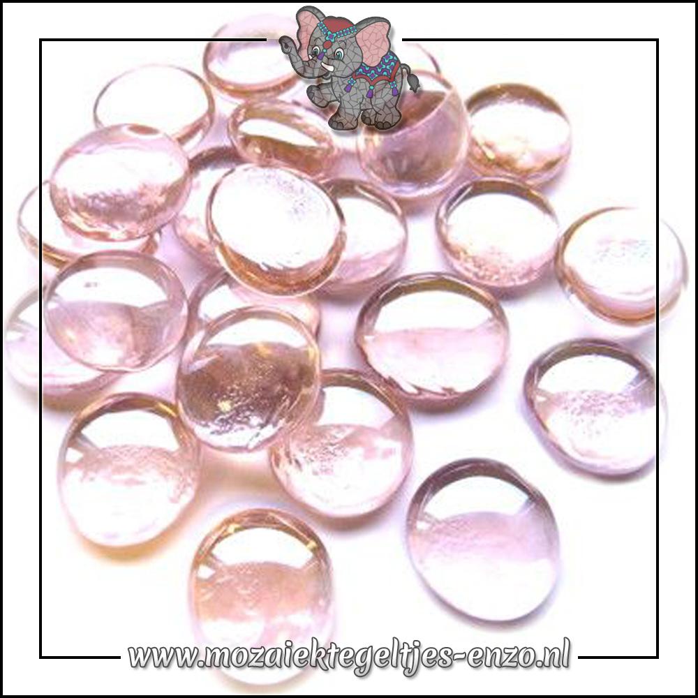 Glas Nuggets Transparant | 16-20mm | Enkele Kleuren | 10 stuks |Pastel Pink Crystal