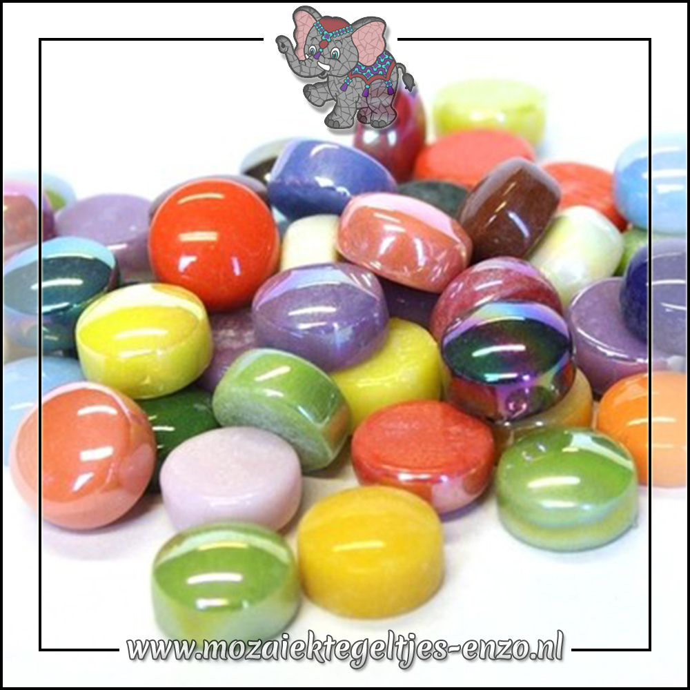 Glasdruppels Normaal-Parelmoer   12mm   Gemixte Kleuren   50 gram  Mixed Colours