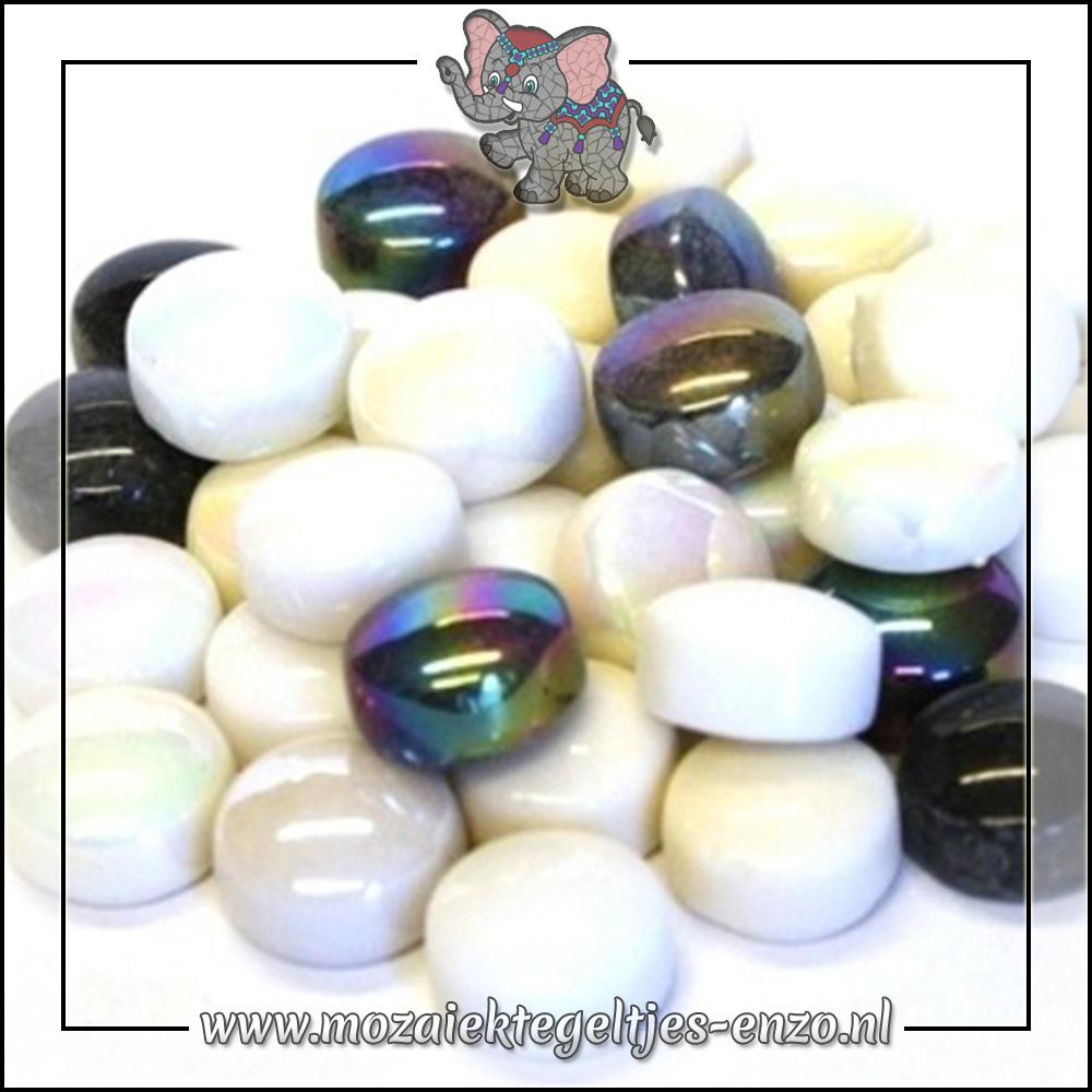 Glasdruppels Normaal-Parelmoer | 12mm | Gemixte Kleuren | 50 gram |Ebony and Ivory