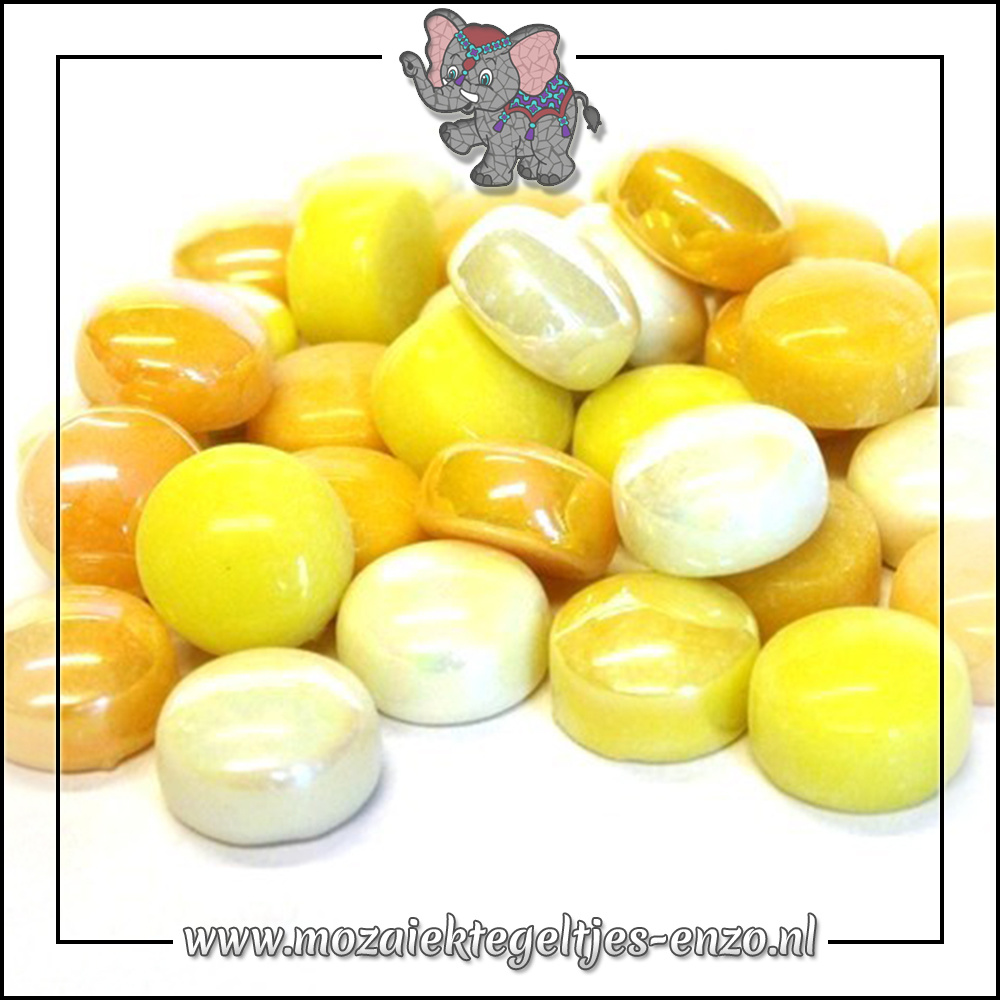 Glasdruppels Normaal-Parelmoer   12mm   Gemixte Kleuren   50 gram  French Mustard