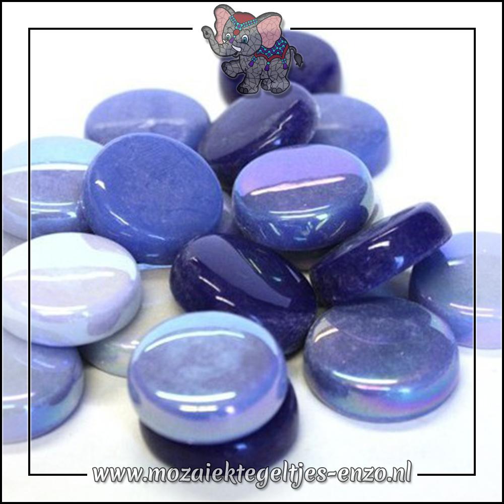 Glasdruppels Normaal-Parelmoer | 20mm | Gemixte Kleuren | 50 gram |Electric Blue