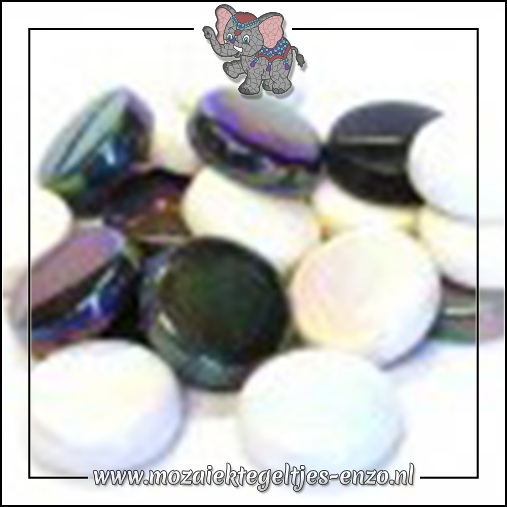 Glasdruppels Normaal-Parelmoer | 20mm | Gemixte Kleuren | 50 gram |Ebony and Ivory