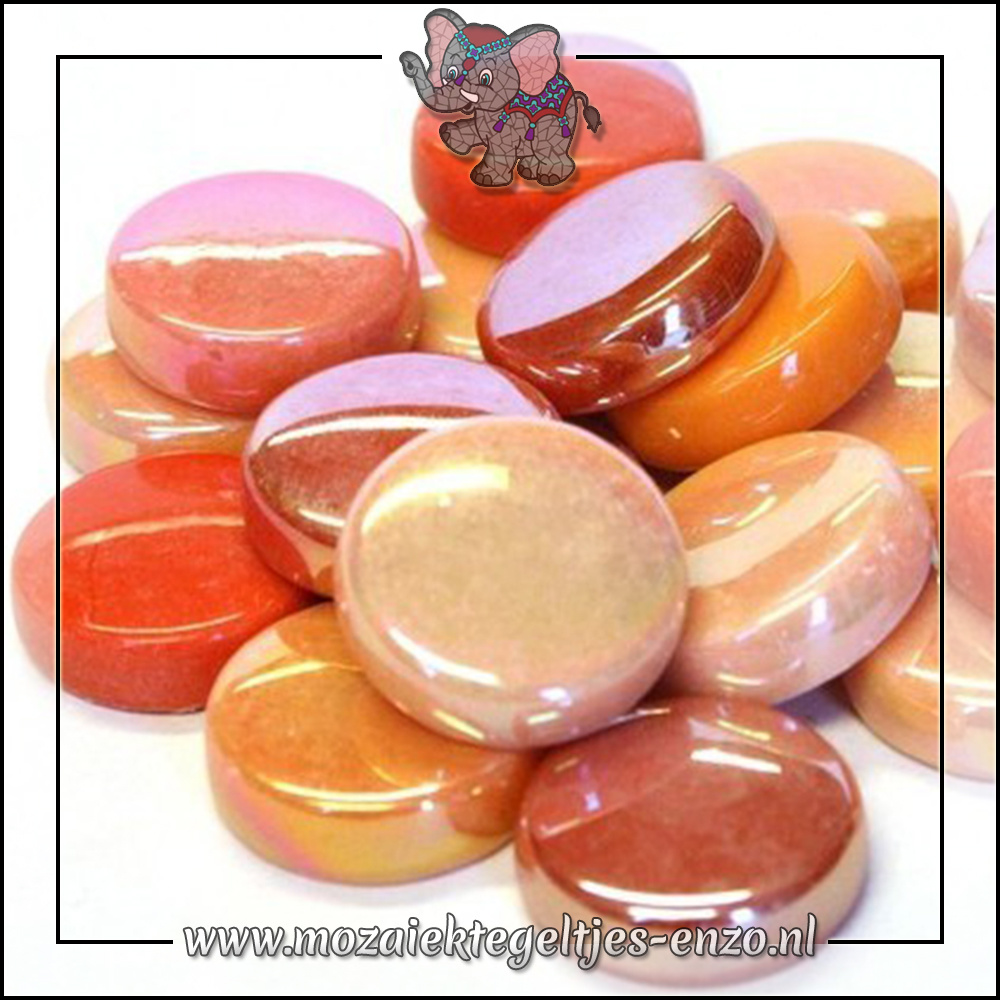 Glasdruppels Normaal-Parelmoer | 20mm | Gemixte Kleuren | 50 gram |Rock Orange