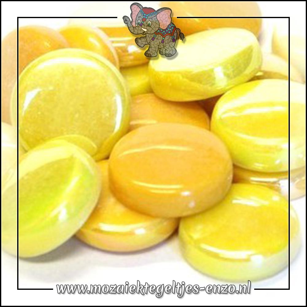Glasdruppels Normaal-Parelmoer   20mm   Gemixte Kleuren   50 gram  French Mustard