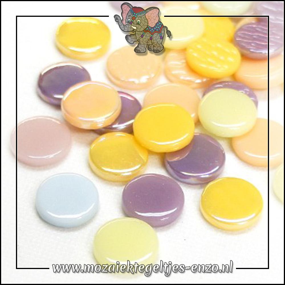 Glasdruppels Normaal-Parelmoer   18mm   Gemixte Kleuren   50 gram  Cotton Candy