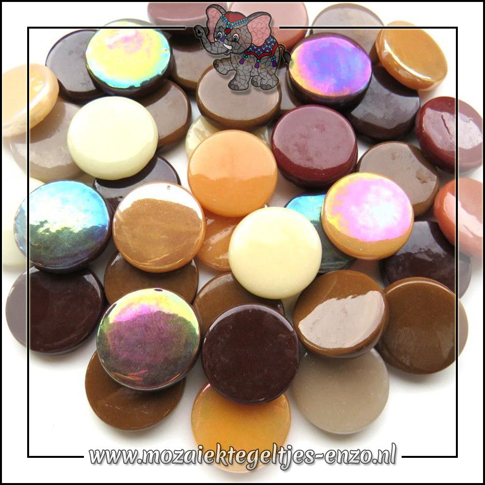 Glasdruppels Normaal-Parelmoer | 18mm | Gemixte Kleuren | 50 gram |Brown Cow