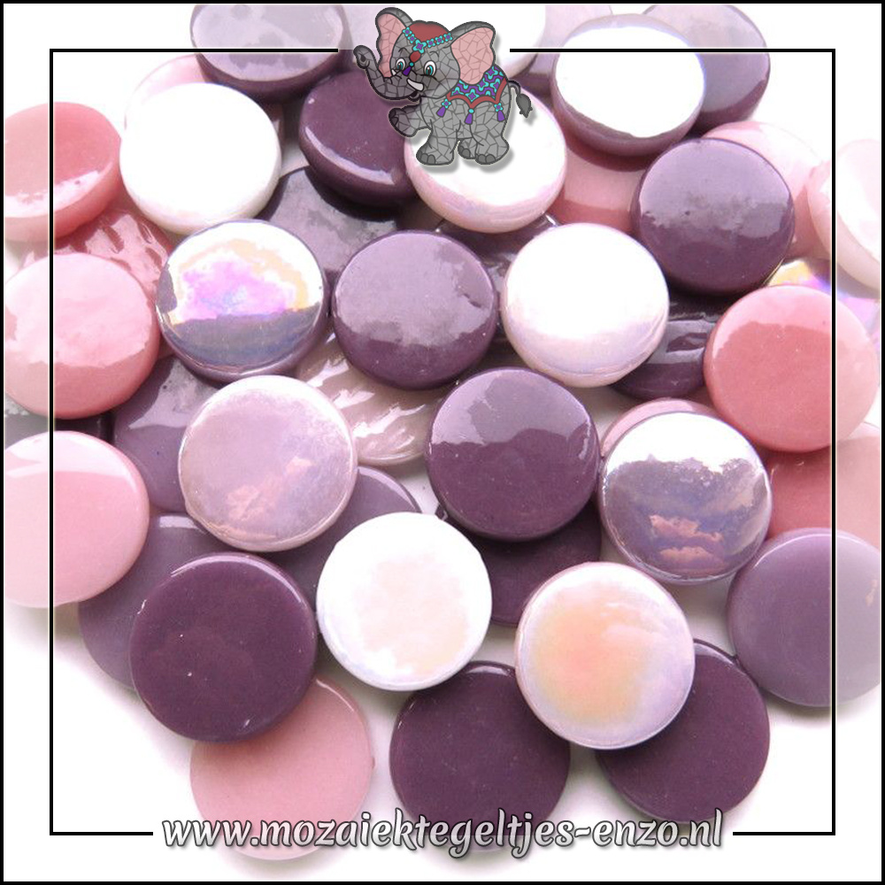 Glasdruppels Normaal-Parelmoer   18mm   Gemixte Kleuren   50 gram  Purple Rain