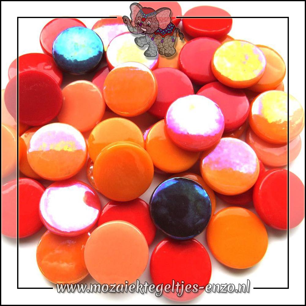 Glasdruppels Normaal-Parelmoer | 18mm | Gemixte Kleuren | 50 gram |Tequila Sunrise