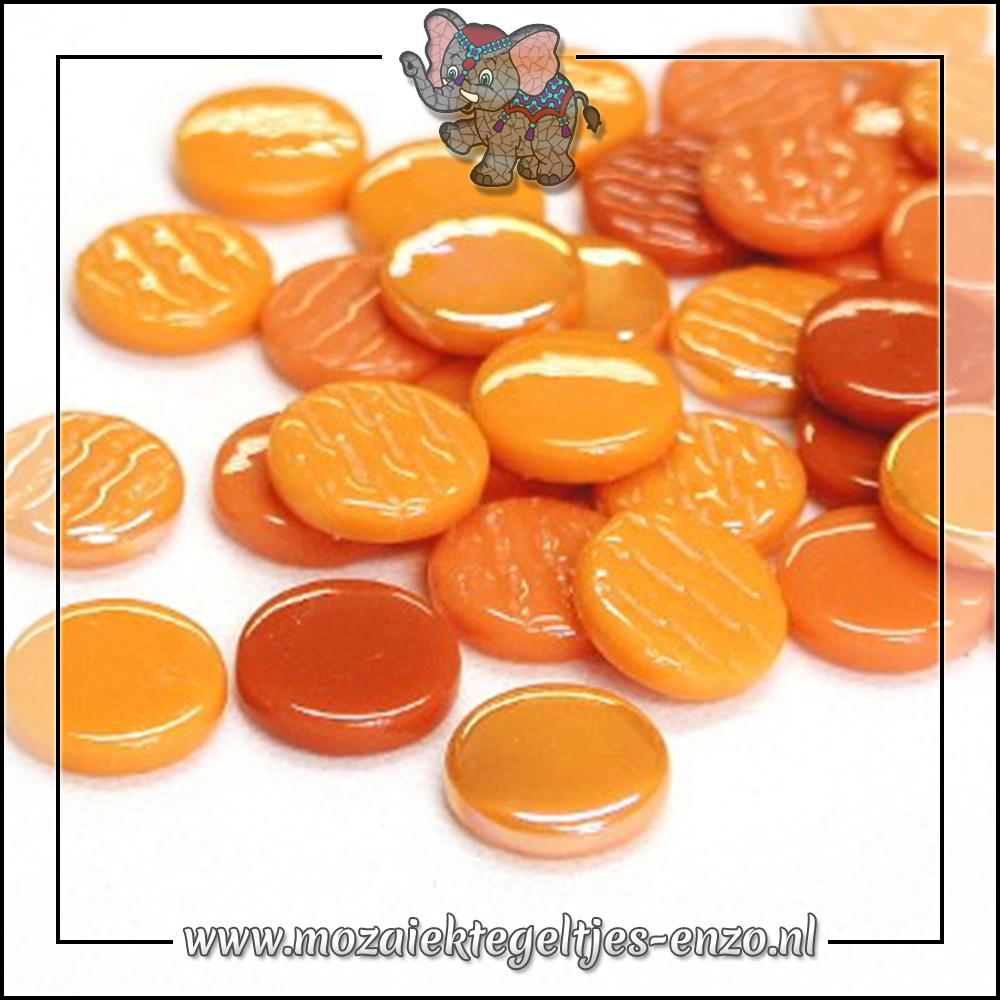 Glasdruppels Normaal-Parelmoer   18mm   Gemixte Kleuren   50 gram  Agent Orange